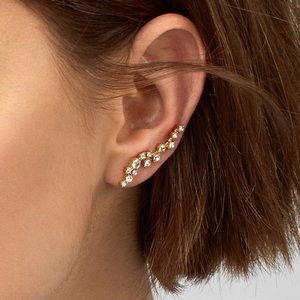 BAUBLEBAR Farah Crystal & Gold Ear Crawlers